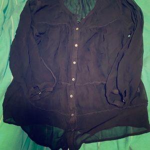 Lucky brand see-through tiered dress shirt